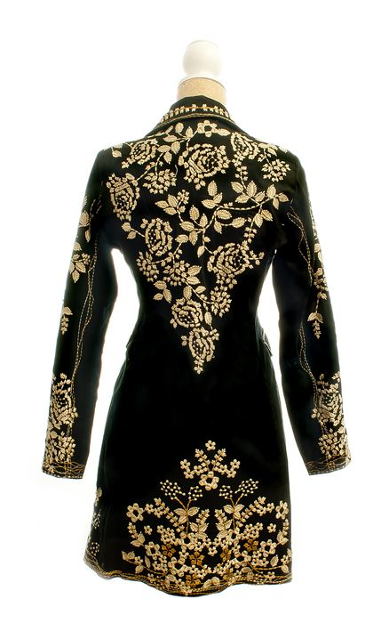 Paparazzi Black Coat with Tan Embroidered Flower Pattern  befa6f39c0a