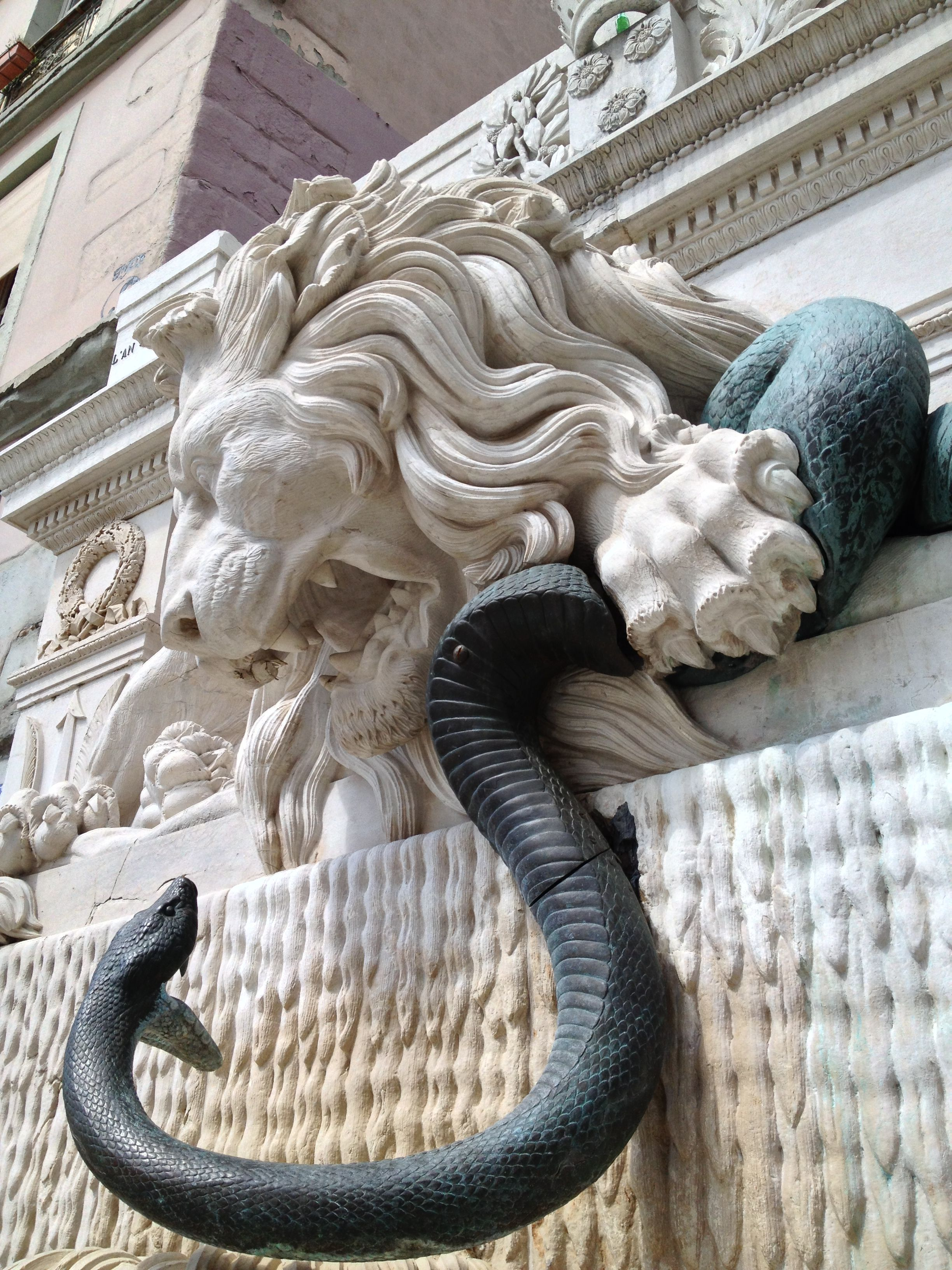 Statue of Lion and Serpent in Grenoble, France   Jesus