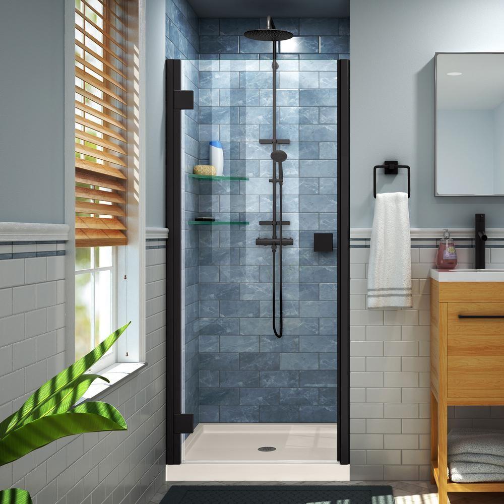 Dreamline Lumen 42 In X 72 In Semi Frameless Hinged Shower Door In Satin Black With 42 In X 32 In Base In Biscuit Shower Doors Frameless Shower Doors Bathroom Shower Doors