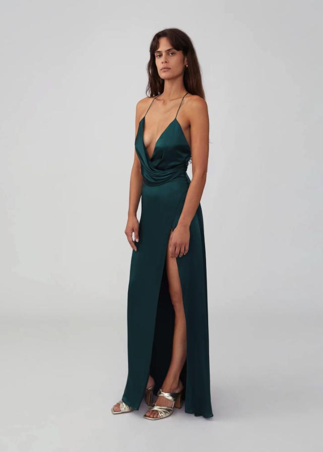 Draped Split Gown Maxi Dress Formal Silk Prom Dress Gowns