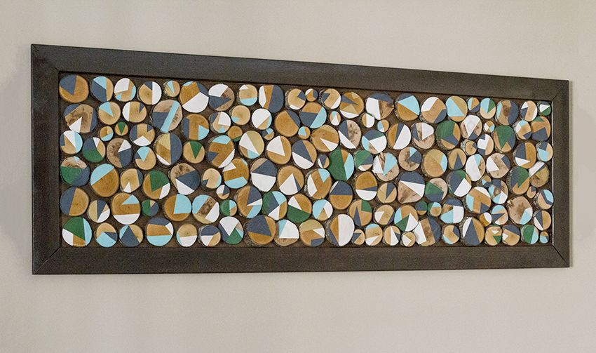 Create Your Own Custom Wall Art With Wood Slices And Paint