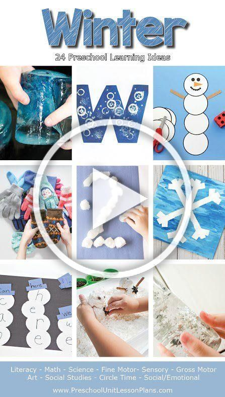 This winter lesson plans packet includes 24 preschool learning ideas. The activities incorporate pl