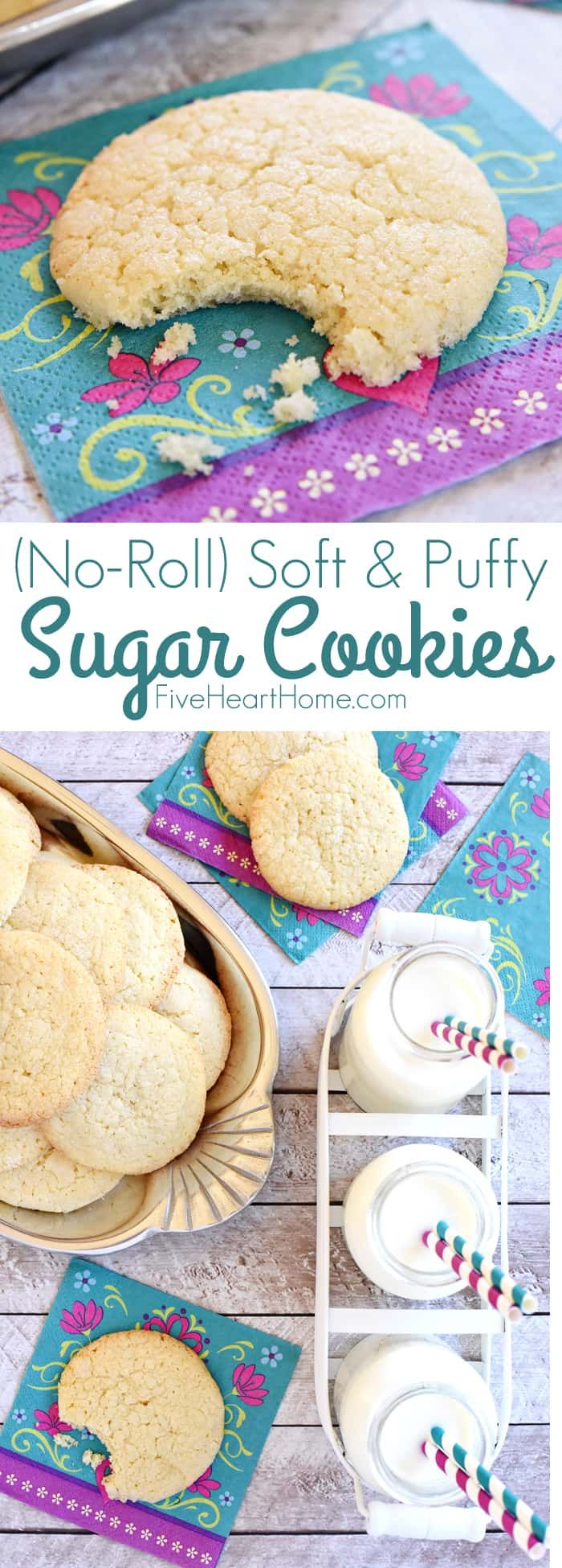 Easy Sugar Cookies ~ require NO ROLLING! They're soft and puffy with tender centers, a crunchy coating of sugar, and loads of vanilla flavor! | FiveHeartHome #sugarcookies #easysugarcookies #sugarcookierecipe