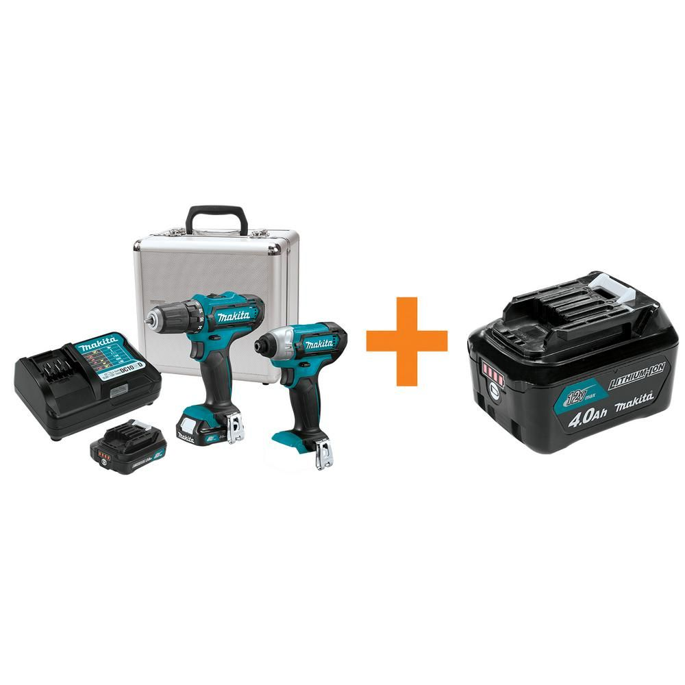 Makita 12 Volt Max Cxt Cordless Impact Driver Drill Combo Kit 2 Pc With Two 2 0 Ah Battery Charger Case Bonus 4 0ah B Combo Kit Battery Charger Impact Driver