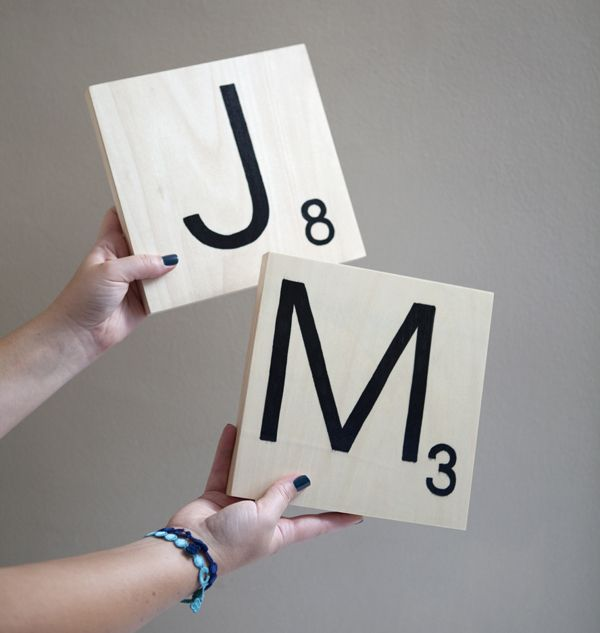 How To Make Giant Scrabble Tile Table Numbers Giant Scrabble Tiles Scrabble Tile Crafts Scrabble Wall