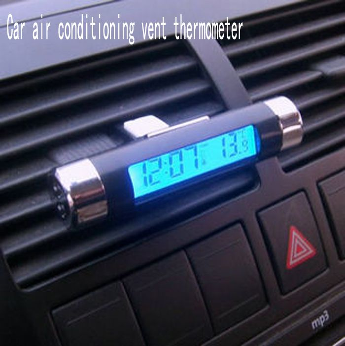 car air conditioning vent. car air conditioning vent thermometer blue lcd time clock vehicle electronic g