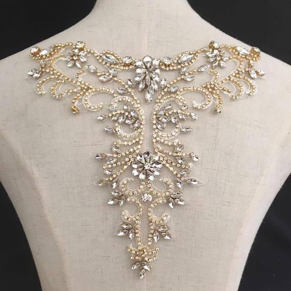 Gold Bridal Dress Applique Diamante Wedding Accessories Trim Beaded Belt Motif