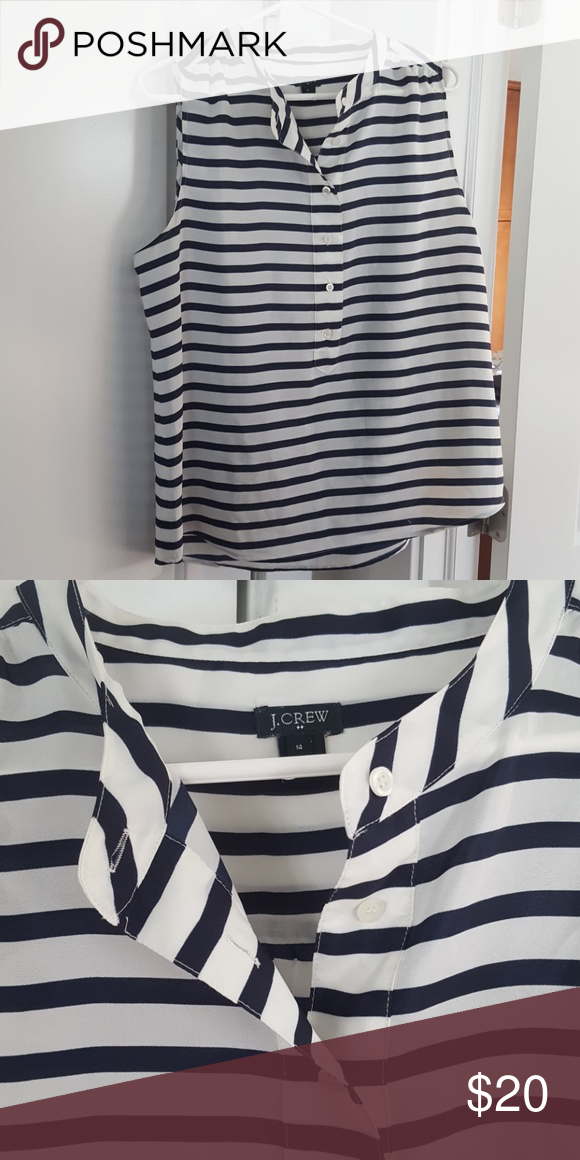Striped J.crew Factory tank Navy and white stripes with front buttons. J. Crew Factory Tops Tank Tops