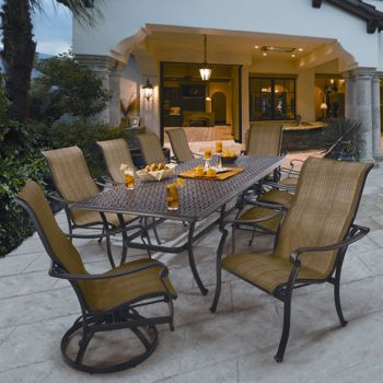 Phenomenal Costco Saratoga 11 Piece Sling Patio Dining Collection Home Interior And Landscaping Staixmapetitesourisinfo