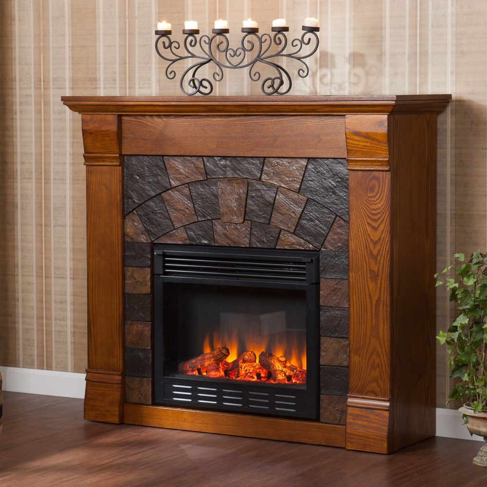 stonegate antique oak electric fireplace overstock com shopping