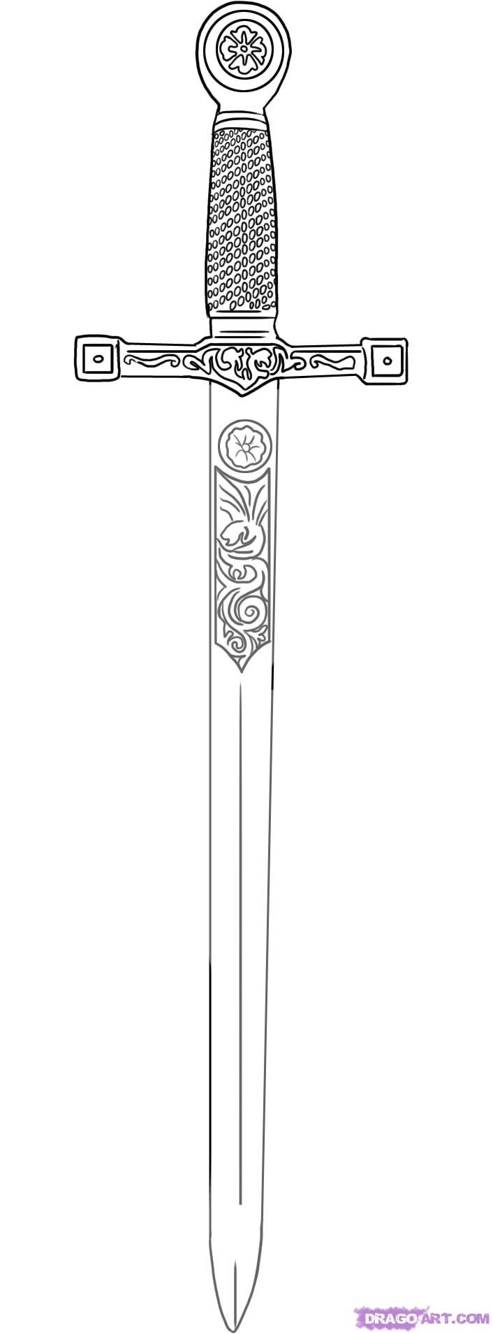 how to draw excalibur sword in