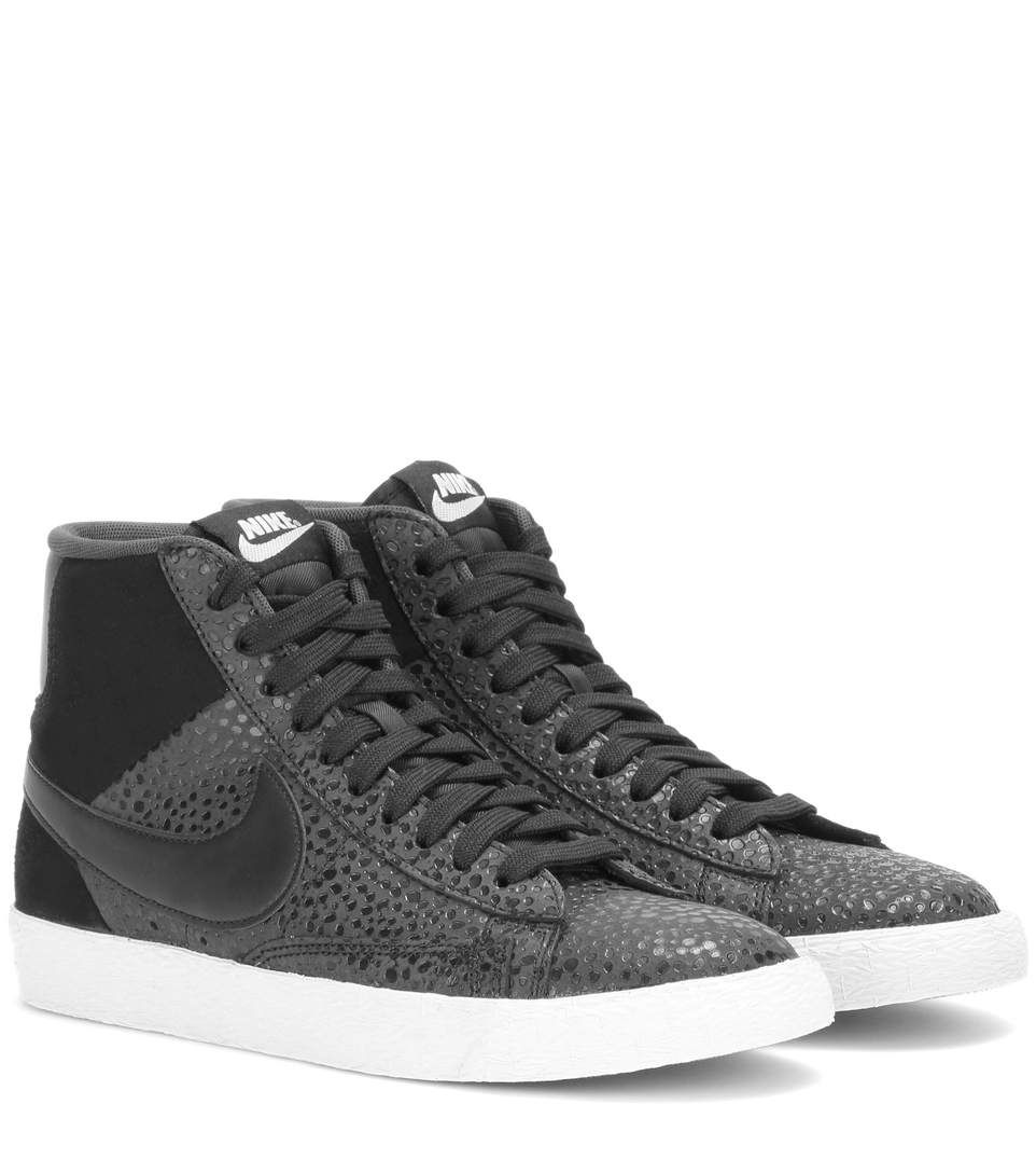 low priced 256f9 610c7 Nike Blazer Mid Premium black suede and embossed leather high-top sneakers