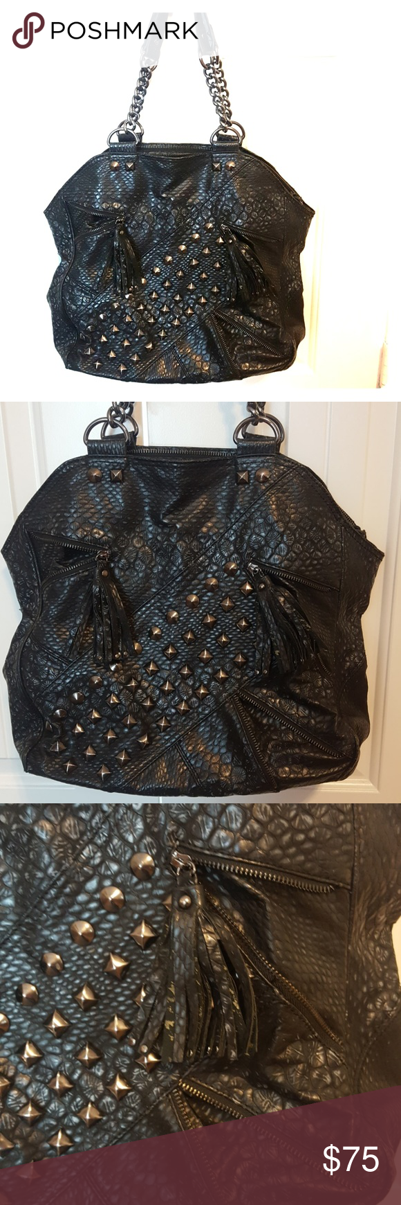 Affliction Studded Moto Handbag Snakeskin Looking With Lots Of Silver Accents Fringe Zipper Large Room