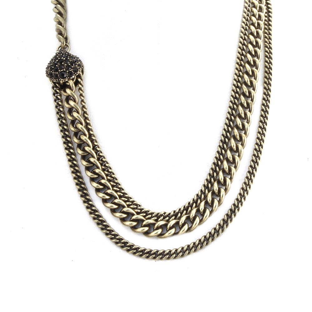 Giles & Brother - Encrusted Circe Chain Brass with Jet Pave