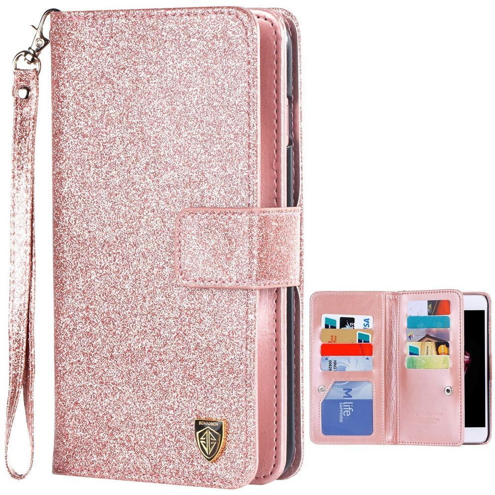 release date cc6c2 b231a New iPhone 7 Plus Case Wallet Bentoben Luxury Shiny Bling Wrist ...