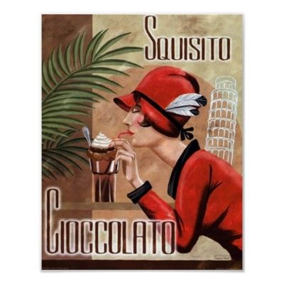 Squisito Cioccolato Italian Chocolate Woman in Red Poster w/touch of green: colors of my living room