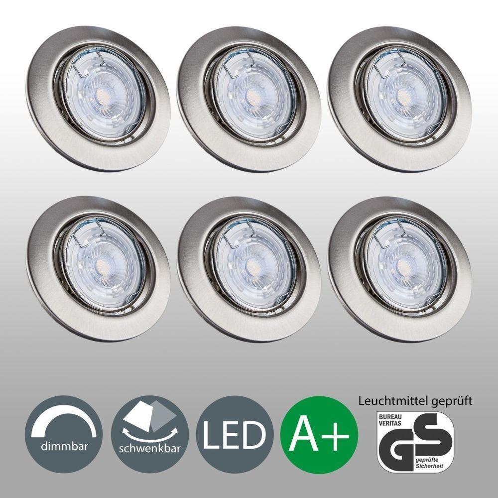 6x Led Einbaustrahler Dimmbar Einbau Leuchte Flach Decken Spots Einbaulampe Gu10