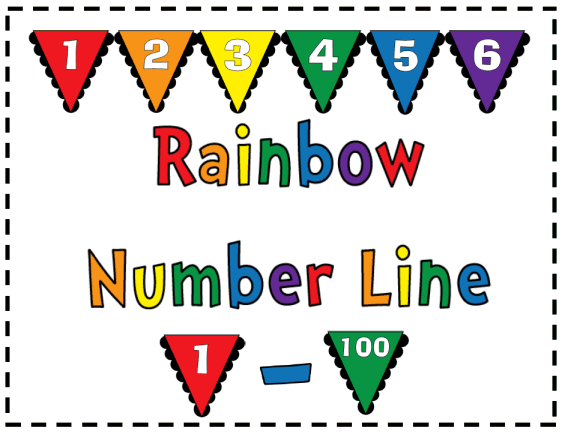 Rainbow Number Line 1 100 Number Line Common Core Math Middle School Worksheets For Kids