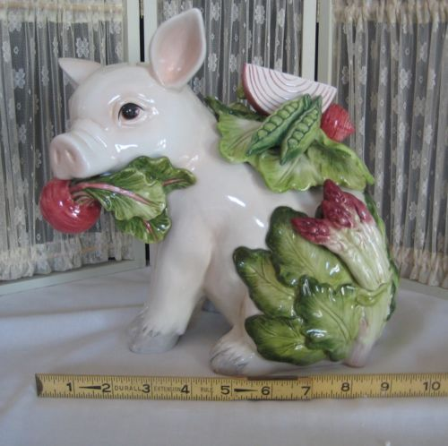 New adorable Fitz and Floyd French Market pig cookie jar