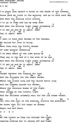 Song Lyrics With Guitar Chords For The Pretender Jackson Browne