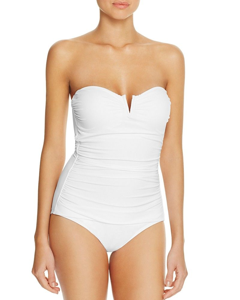 81d86247a8 Bandeau Swimsuit, White Swimsuit, White Bandeau, Tankini, White One Piece,  Tommy
