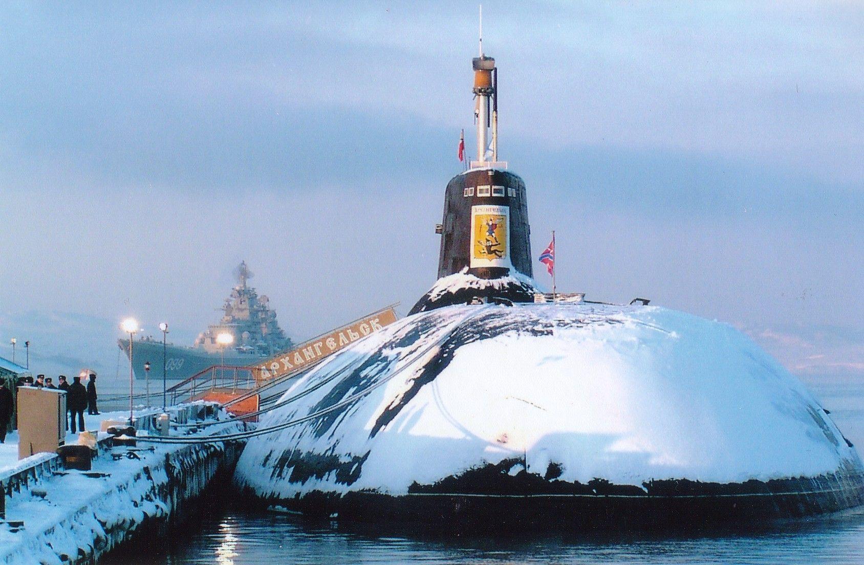 typhoon class ssbn and kirov class battlecruiser in the background 1688 1104
