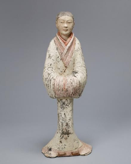 Anonymous, Chinese .     Han Dynasty Female Earthenware Attendant, 206 BCE.      Colby College Museum of Art.