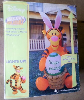 Disney Gemmy Airblown Inflatable Light Up Tigger Easter Over 6 Feet Tall    RARE