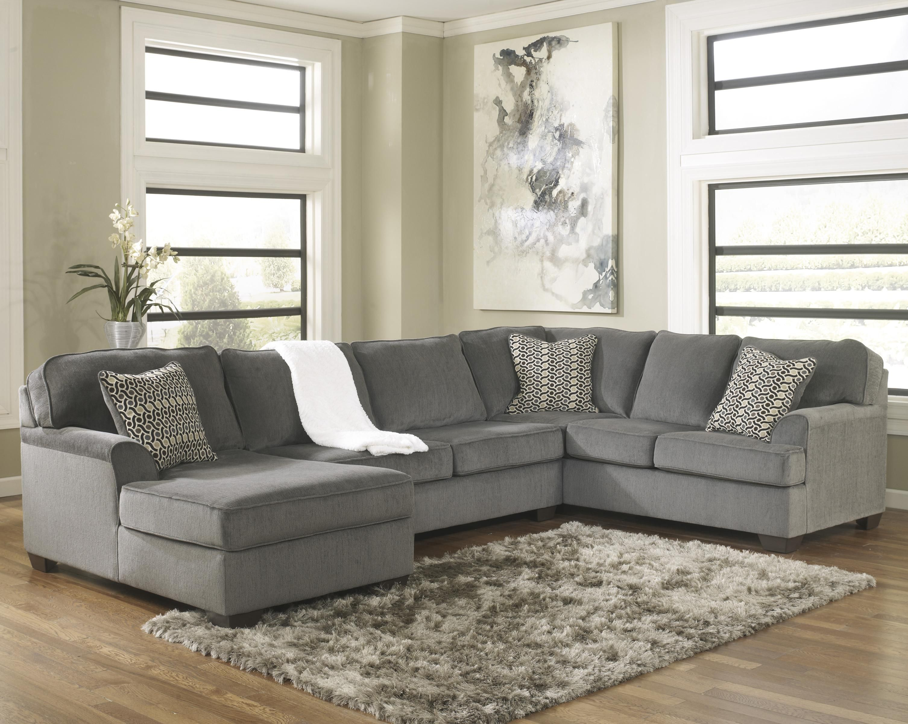 Sofa Mart Idaho Falls Loric Smoke Contemporary 3 Piece Sectional With Left Chaise By