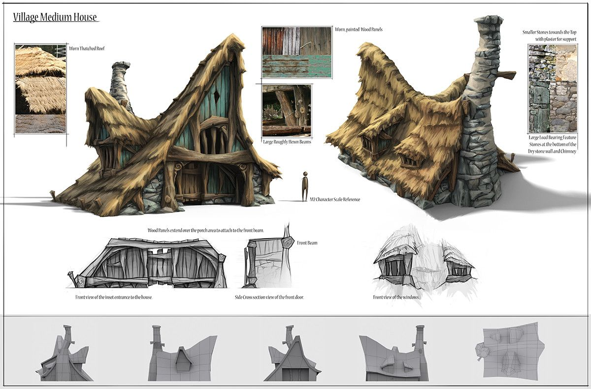 A rural house concept I did for Fable Legends including breakdowns, texture references and initial development sketches.
