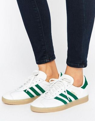 adidas originals leather gazelle sneakers with gum soles