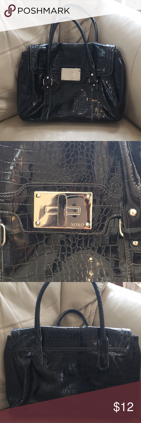 XOXO Black Handbag Black XOXO handball with magnetic front closure 14c5df0b0af98