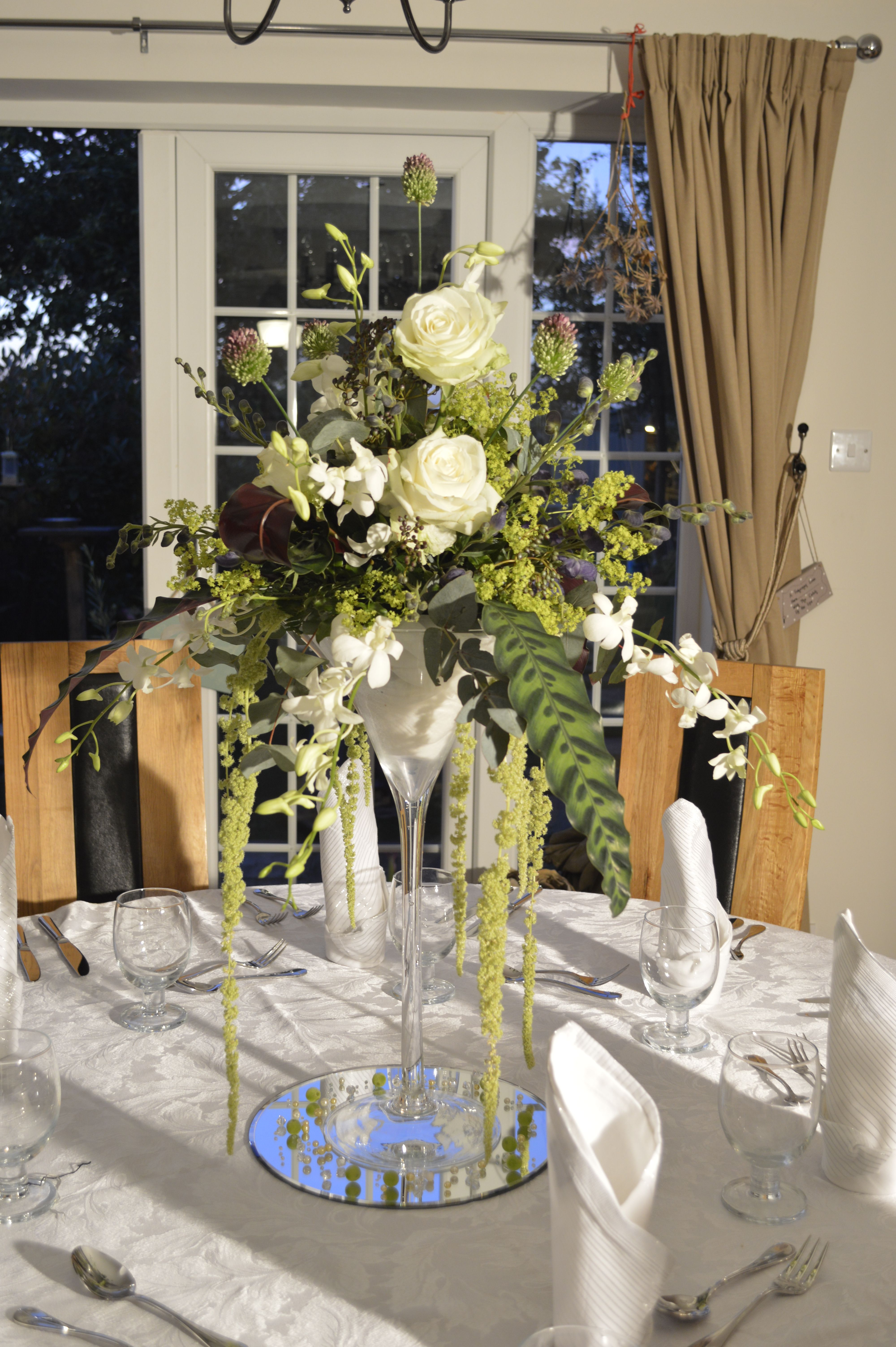 Martini glass vase wedding table centre flower arrangement martini glass vase wedding table centre flower arrangement created and designed by artistic floral services reviewsmspy
