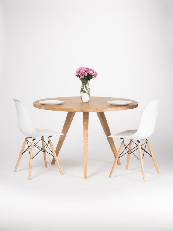 Round Dining Table Large Kitchen Table Made Of Solid Oak Wood