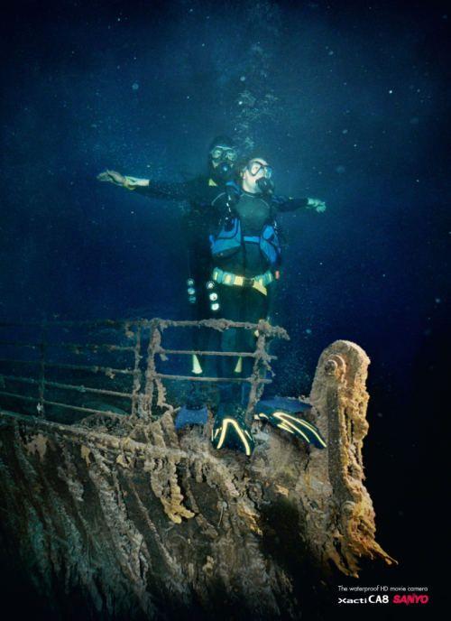 Titanic Engine Room Underwater: Sanyo Xacti For Underwater Titanic Photo