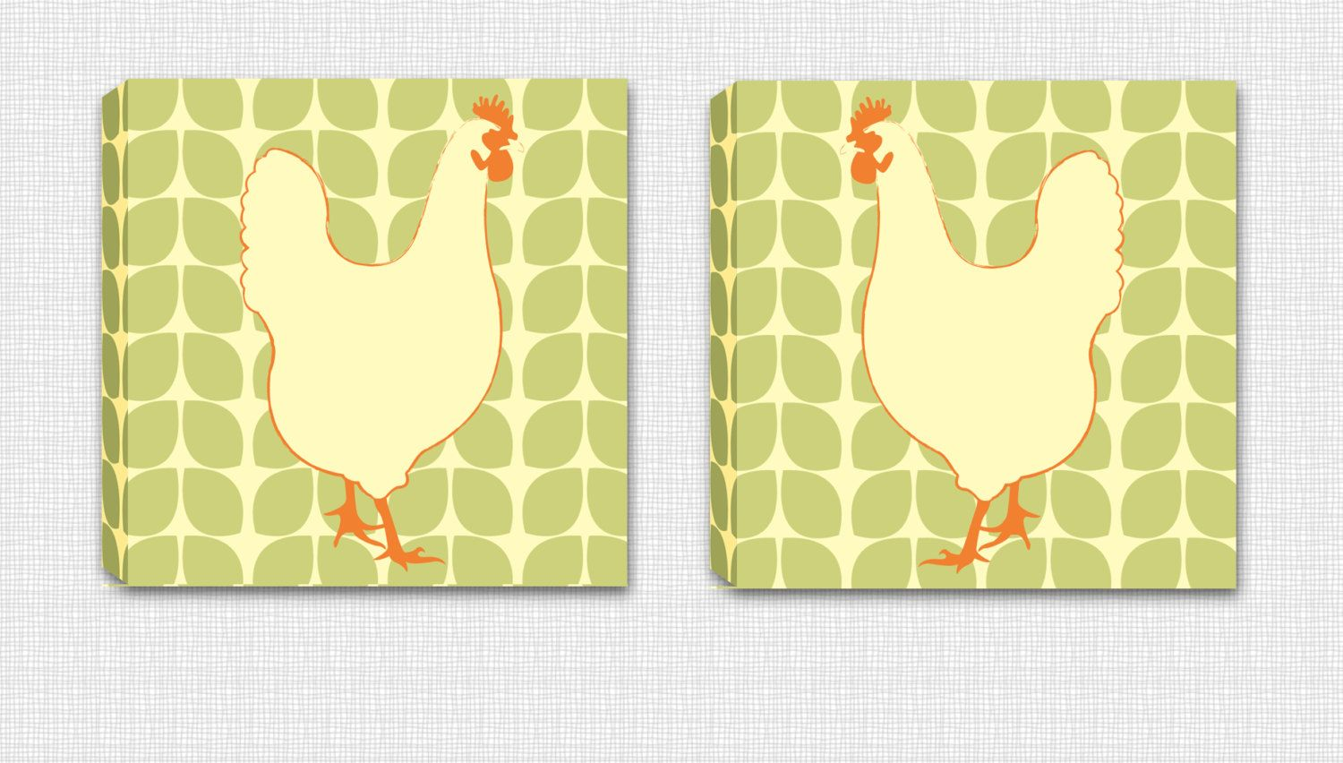 Set of 2 - Retro Chicken Mounted Canvas Wall Art - Perfect to hang ...