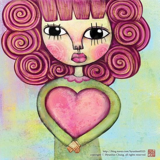 사탕머리를 한 사랑을 안은 소녀_42x42(cm)_digital art_2008.