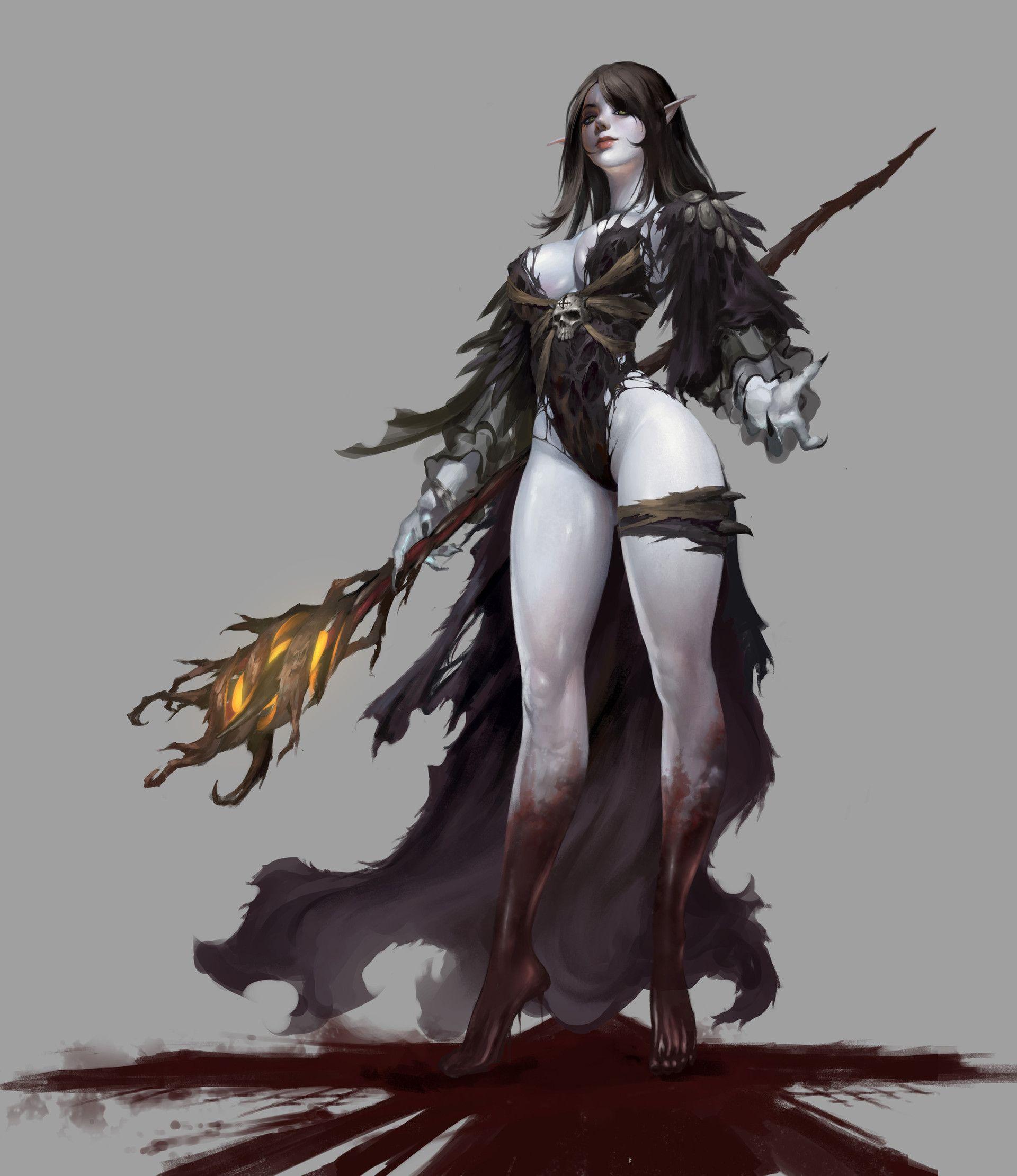 ArtStation - Dark elf, Bangku An | Concept art characters