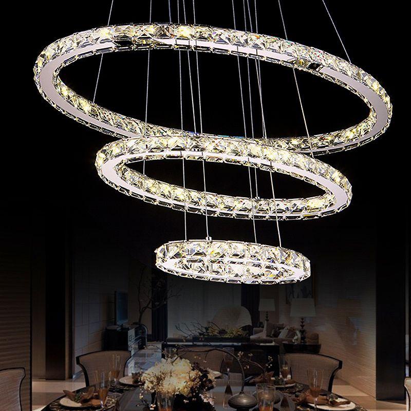 Modern Ring Chandelier Crystal Light Stainless Steel Led Lamp Of