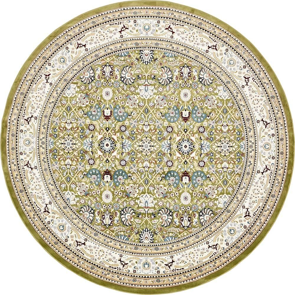 Tabriz Green 10 Ft X 10 Ft Round Area Rug