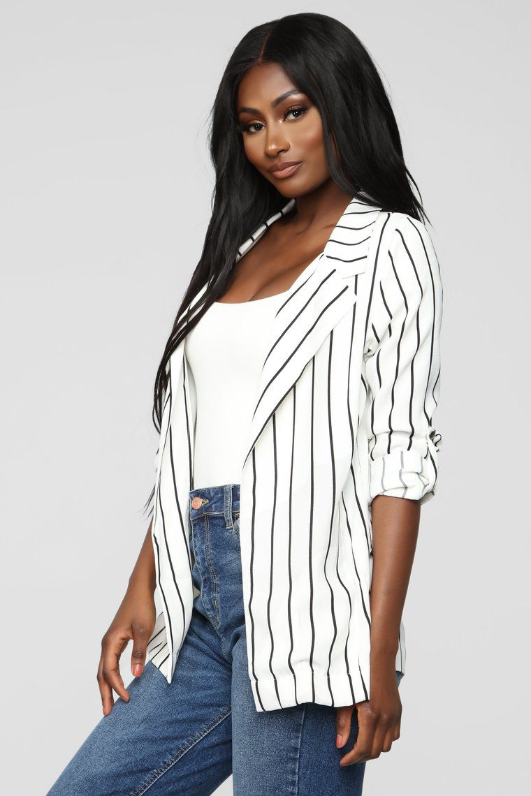 af95ac46eddf Leia Blazer - White/Black in 2019 | Outfits | Black, Blazer, Striped ...