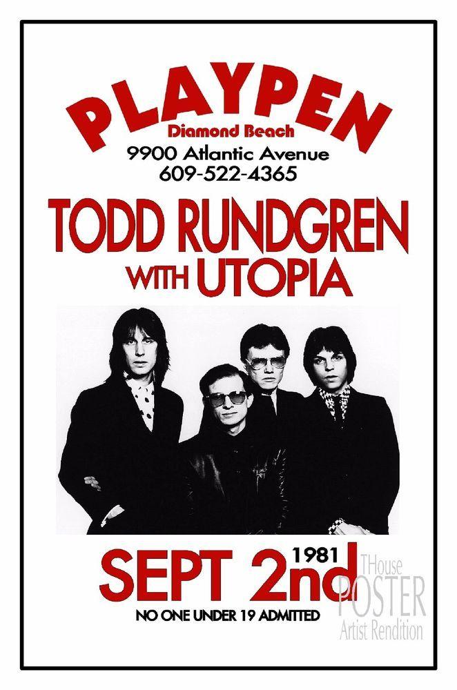 Todd Rundgren 1981 Playpen Diamond Beach NJ Art Rendition POSTER THouse 2017