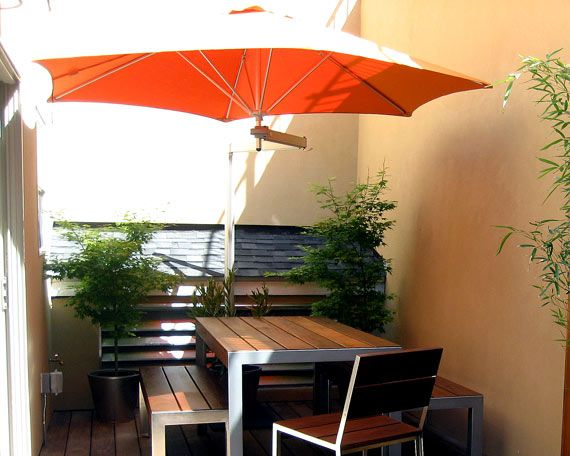 Delightful Exterior Design, Awesome Orange Minimalist Wall Mounted Pation Umbrella  With Modern Out Door Dinner Set Made By Wooden With Wooden Floor Als..
