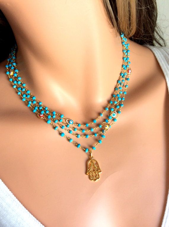 Hamsa Necklace Turquoise Gold filled Hand of Fatima Evil Eye Kabbalah Jewelry High Quality Multi Layer Strand Necklaces #rosaryjewelry