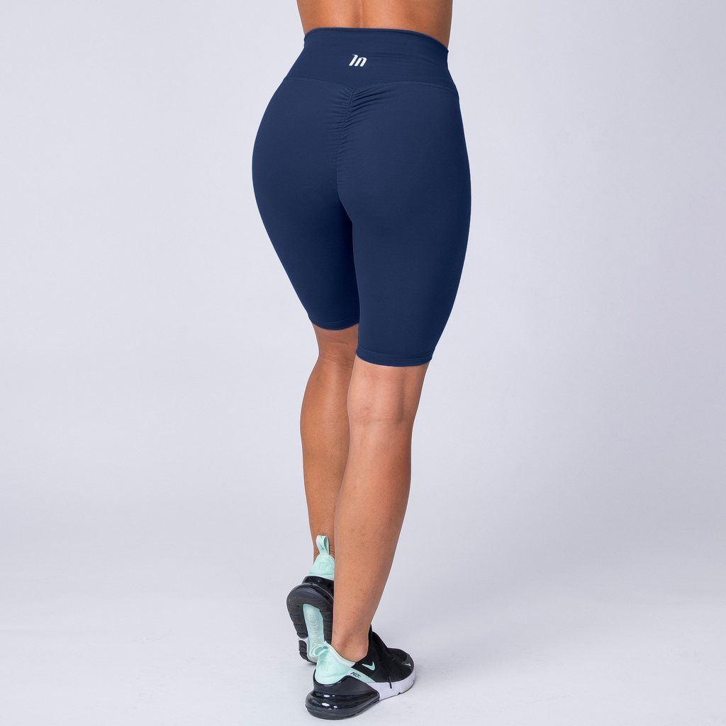 794f882338167 Muscle Nation Referee Length High Waist Scrunch Shorts - Navy in ...