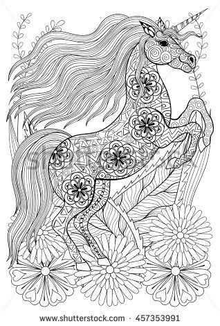 zentangle stylized unicorn with flowers hand drawn ethnic animal for adult coloring pages art. Black Bedroom Furniture Sets. Home Design Ideas
