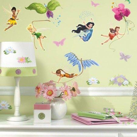 Disney Fairies Wall Decals with Glitter   Disney fairies, Wall ...