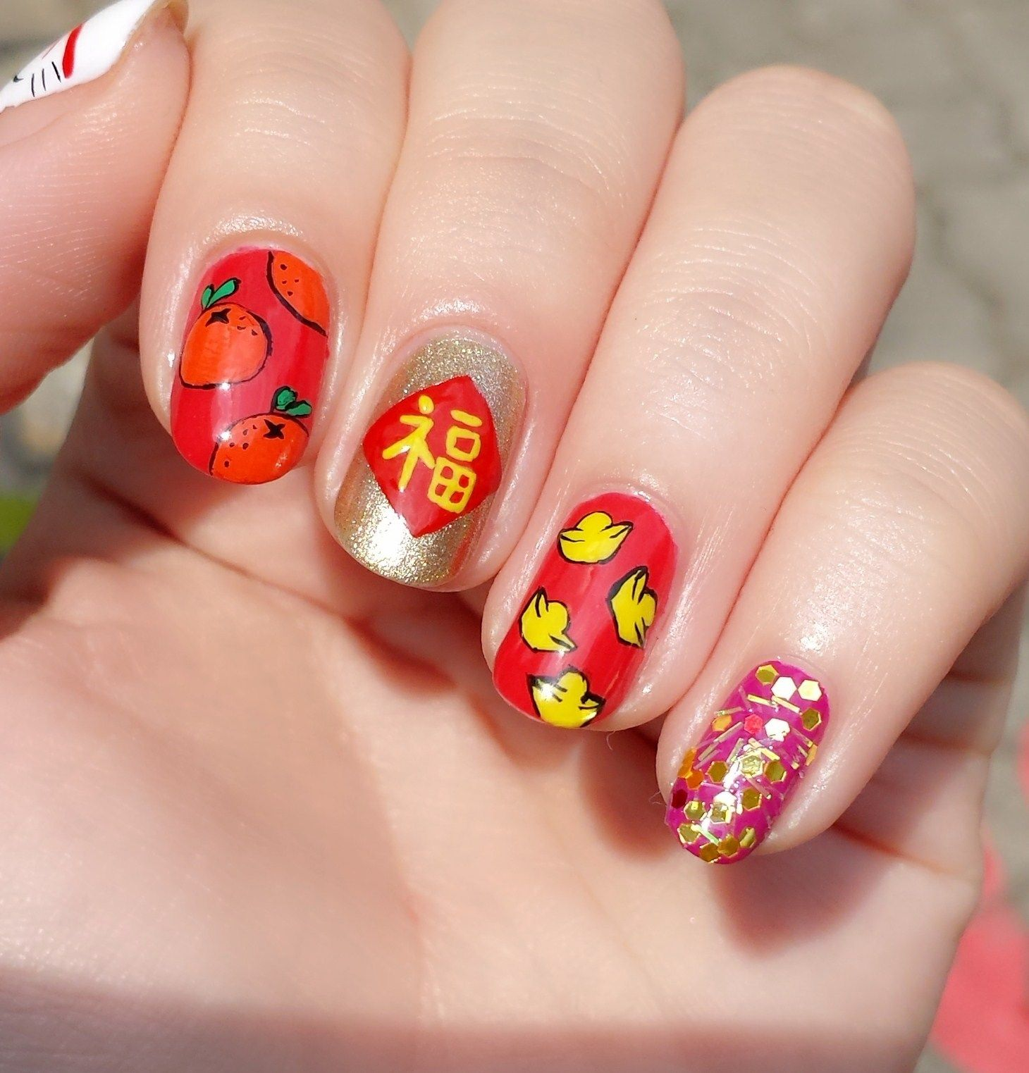 Chinese New Year fortune cat nails | Cat nails and Manicure