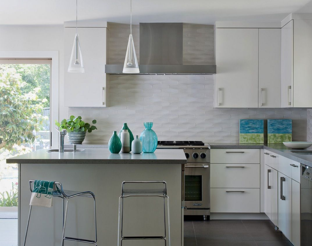 Kitchen White Textured Subway Tile Backsplash Also Stunning L Shaped Kitchen Design Idea Plus Modern Interior Ideas And Glass Vase With Stainless Steel