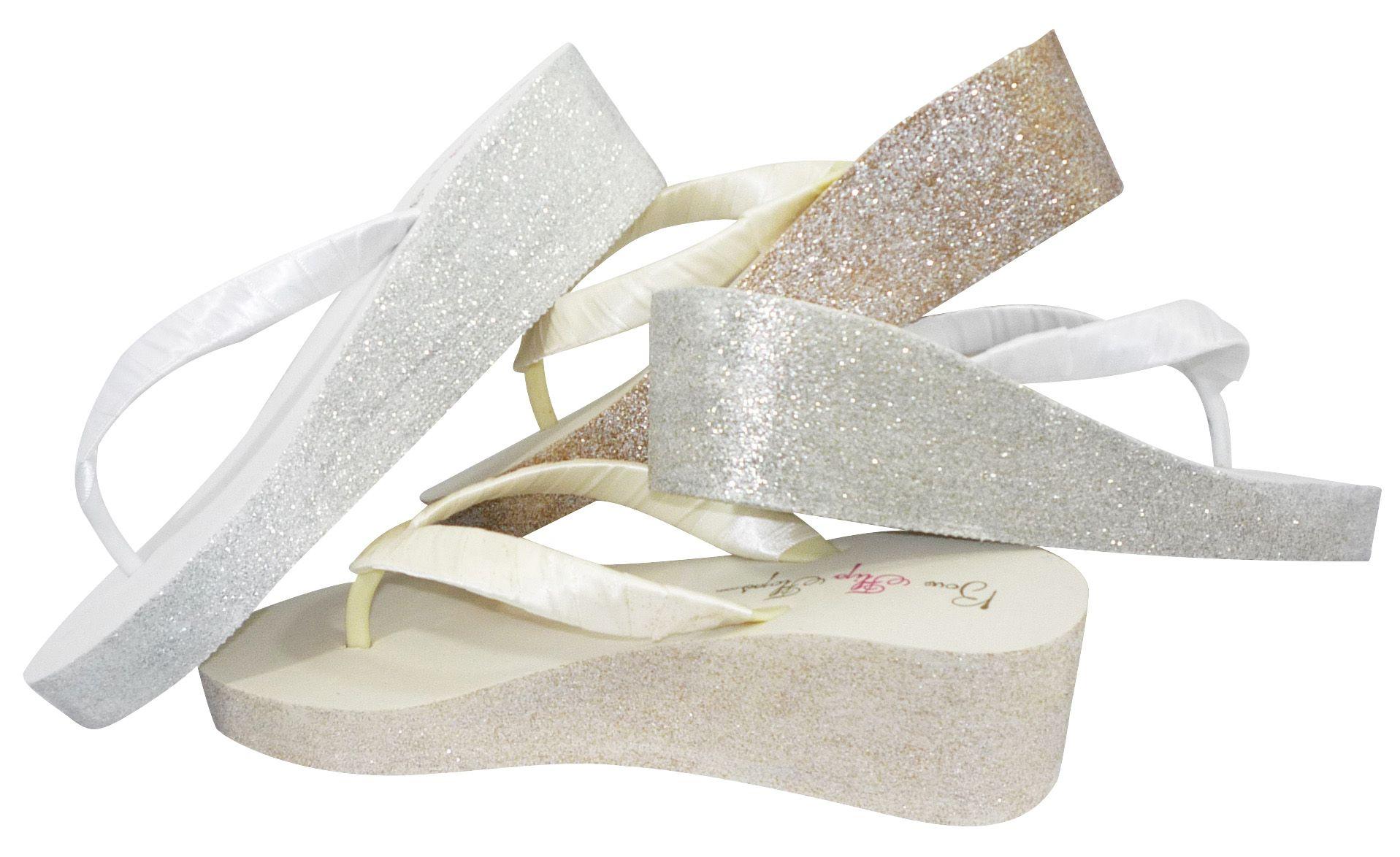70c1cc40451 Glitter Bridal Flip Flops for the Wedding from bowflipflops.com ...